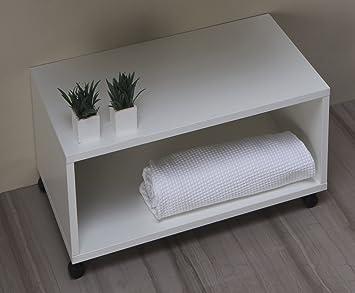 Panca Contenitore Bagno : Mobile bagno panca arredo bagno con rotelle da cm amazon