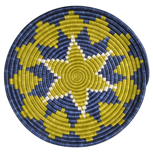 All Across Africa Handwoven 16-inch Hope Tray, Blue Night and Citron