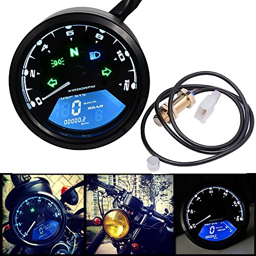  Instruments Motorcycle Meter LED digita Indicator light Tachometer Odometer Speedometer Oil Meter Multifunction With night vision dial by ATUKI 