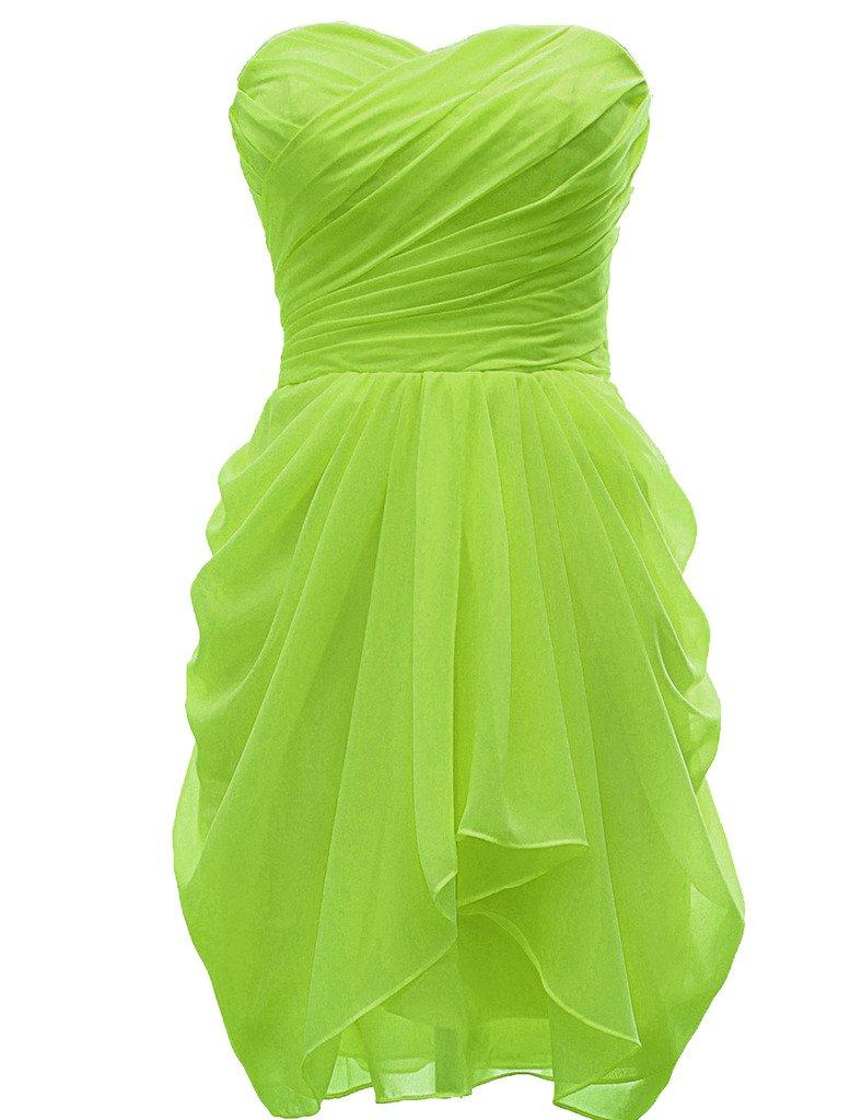 H.S.D Ladies Loose Sweetheart Neckline Short Party Dress Lemon Green