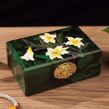 JeweR Caja de joyería Artículos de Laca Caja de joyería Madera Plana Pintada a Mano Almacén