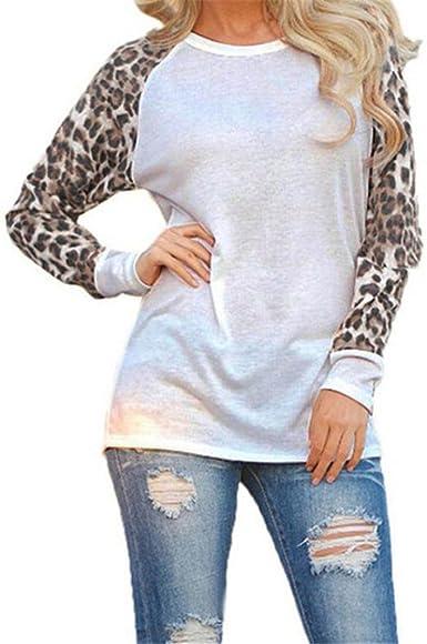 FAMILIZO Camiseta Manga Larga Mujer Tops Blusa Mujer Elegante Mujeres Blusa T-Shirt Casual Tops Primavera T-Shirt Leopardo Camiseta Mujer Larga Ropa ...