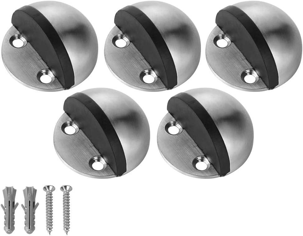 304 Stainless Steel Sound Dampening Door Stop Bumper Wall Protetor 2 Pack JQK Door Stopper DSB5-BN-P2 Brushed