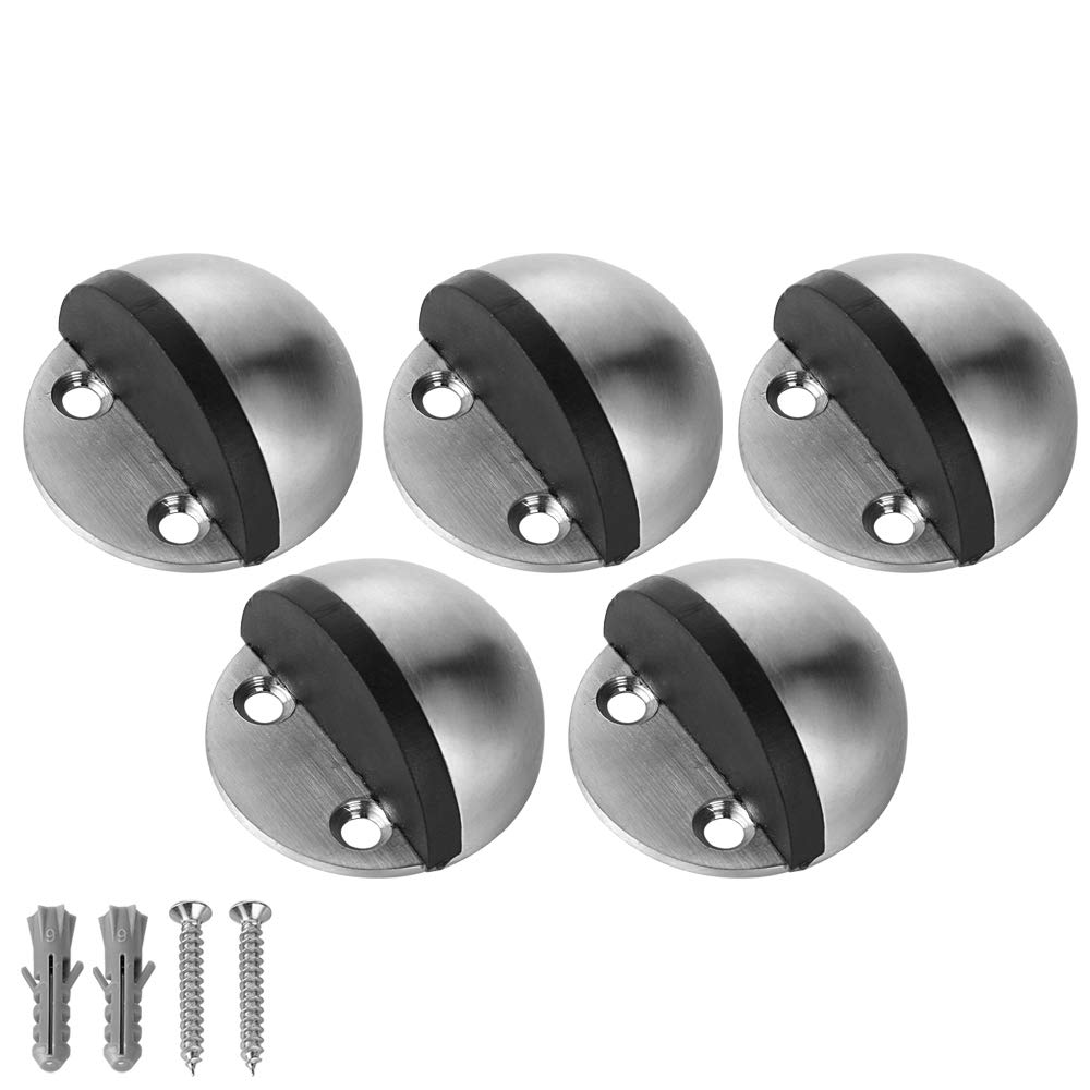 JQK Floor Door Stopper, Stainless Steel Sound Dampening Door Stop Bumper Wall Protetor 5 Pack, Brushed, DSB3-BN-P5