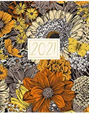 2021: Recycled Weekly & Monthly Planner & Diary | Brown Orange 70s Floral Botanical | January 2021 - December 2021