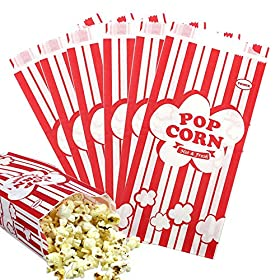 Tomnk 100pcs Paper Popcorn Bags, 1oz Red and White Stripes Bags
