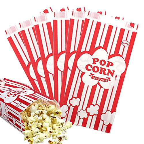 Tomnk 100pcs Paper Popcorn Bags, 1oz red and white stripes bags -