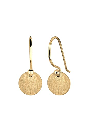 Elli Damen Echtschmuck Ohrringe Kreis Geo Trend Basic Matt in 925 Sterling Silber  vergoldet 3cc0e9119c