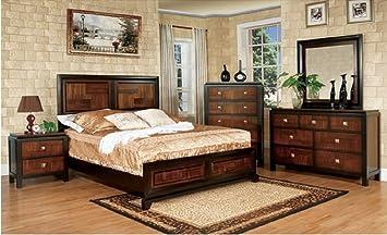 Amazon Com Duo Tone Piece Acacia And Walnut Bedroom Set Queen