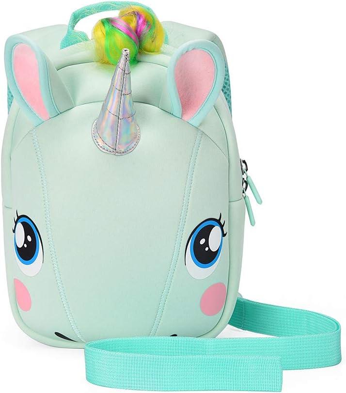 Unicorn Backpack with leash for Girls Kids Backpack Plush Unicorn Toy Bookbag (Green)