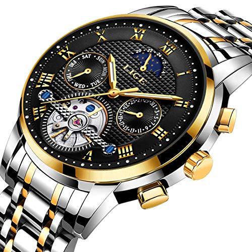 - LIGE Mens Watches Waterproof Mechanical Sport Watch Black Business Stainless Steel Wristwatch Calendar Date Watch Sliver