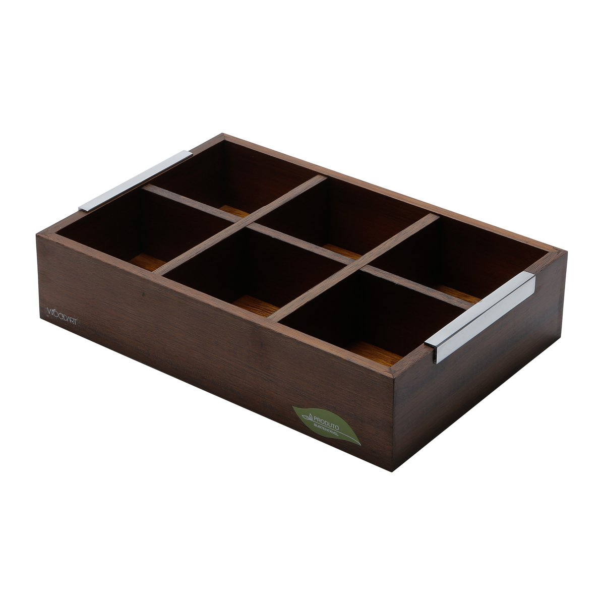 WOODART Wooden Tea Box with 6 compartments