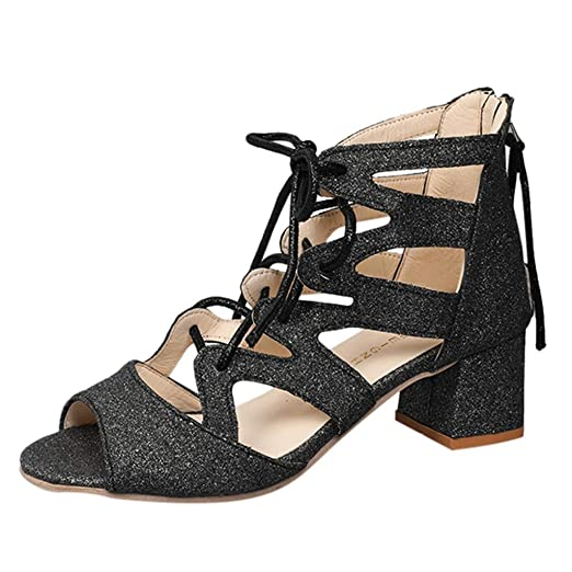 1ff12bd0c2e1e0 DENER❤ Women Ladies Leather Gladiator Sexy Sandals with Heels