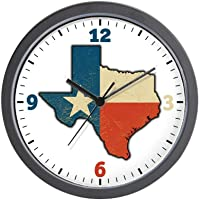 BCWAYGOD Texas Flag Texas Shaped Wall Clock Nice for Gift or Office Home Unique Decorative Clock Wall Decor 10in with…