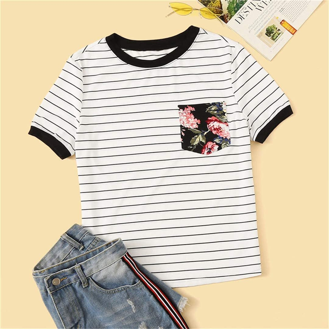 Floral Pocket Patched Striped Ringer T Shirt Women Clothes Round Neck Casual Stretchy