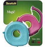 156 Scotch Dispensador +1 rollo cinta Scotch Magic 19mm x 7,5 m (3 colores: 2 azules, 2 rosas y 2 verdes)