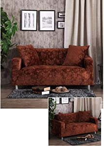 MOSU Stretch Elastic Sofa Slipcover, Sofa Cover Soft Thicken Non-Slip Furniture Protector for Living Room Leather Sofa Armchair Loveseat 3 Cushion Couch Covers-XL sofa235-300cm-coffee