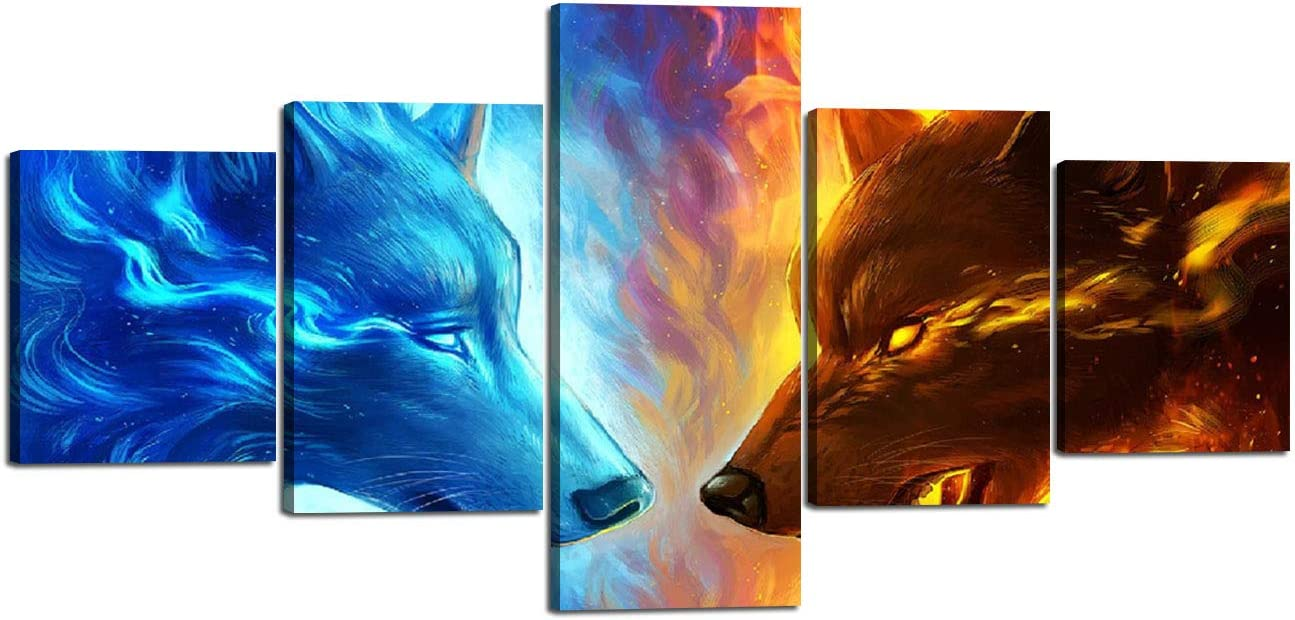Wall Art Canvas Painting for Living Room Modern Home Decorations Wolves Ice Fire Posters and Prints 5 Piece Pictures Framed Stretched Ready to Hang 50 Wx24 H