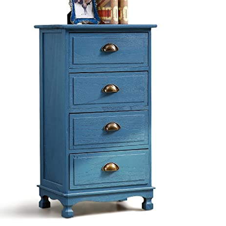 Exceptionnel Mediterranean Vintage Nightstand Bedside Table With 4 Drawers Cabinet Blue