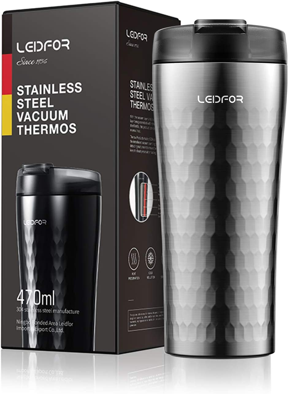 Leidfor Stainless Steel Vacuum Insulated Coffee Travel Mug Tumbler Thermos Cup With Leakproof Lid 16-Ounce Silver