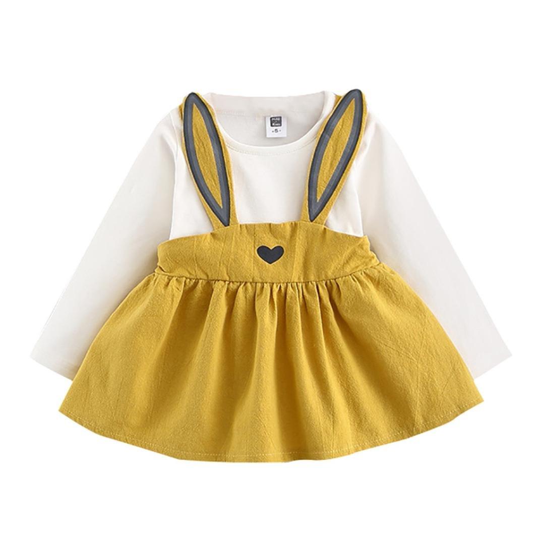 Toddler Autunno Ragazza Stampa Coniglio Principessa Manica Lunga Bendaggio Mini Abito Vestito