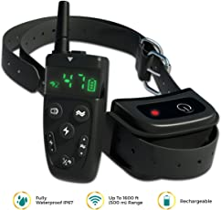 [NEW 2018] Dog Training Collar with Remote | Long Range up to 1600 ft, Shock/Vibration Control, Rechargeable & IPX7 Waterproof | E-Collar Training for Small, Medium and Large Dogs, Breeds (1 Dog)