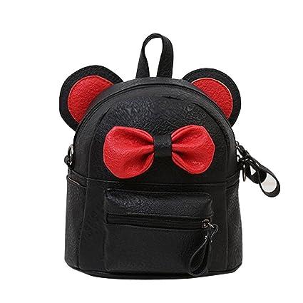 2a2972b8c3 Sameno Leather School Bag Travel Backpack Satchel Bow Tie Women Shoulder  Bag Girl Women (Black)