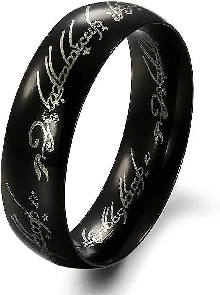 Stayoung Jewellery Moda Retro Hombre Acero Inoxidable Biblia Versos tallada Orar Band Ring, 2colores, 5opciones de tamaño