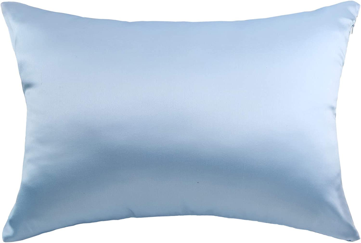 Hodeco Silk Pillowcase Sky Blue 14x20 Double Sides 100% Mulberry Silk 19 Momme Thick Nature Silk Pillow Cover for Skin and Hair Pillow Sham Cover, Toddler Size 36x51cm Light Blue, 1 Piece