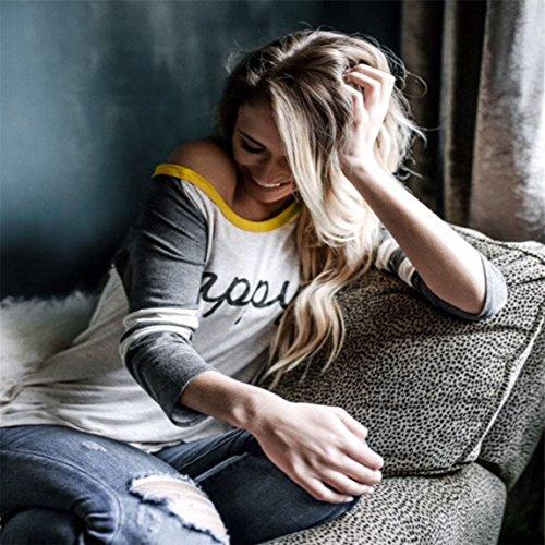 e20cab4b6815 ... Vovotrade Frauen HAPPY Langarm Brief gedruckt Bluse beiläufige  Oberseiten T-Shirt Sweatshirts Frühling ...