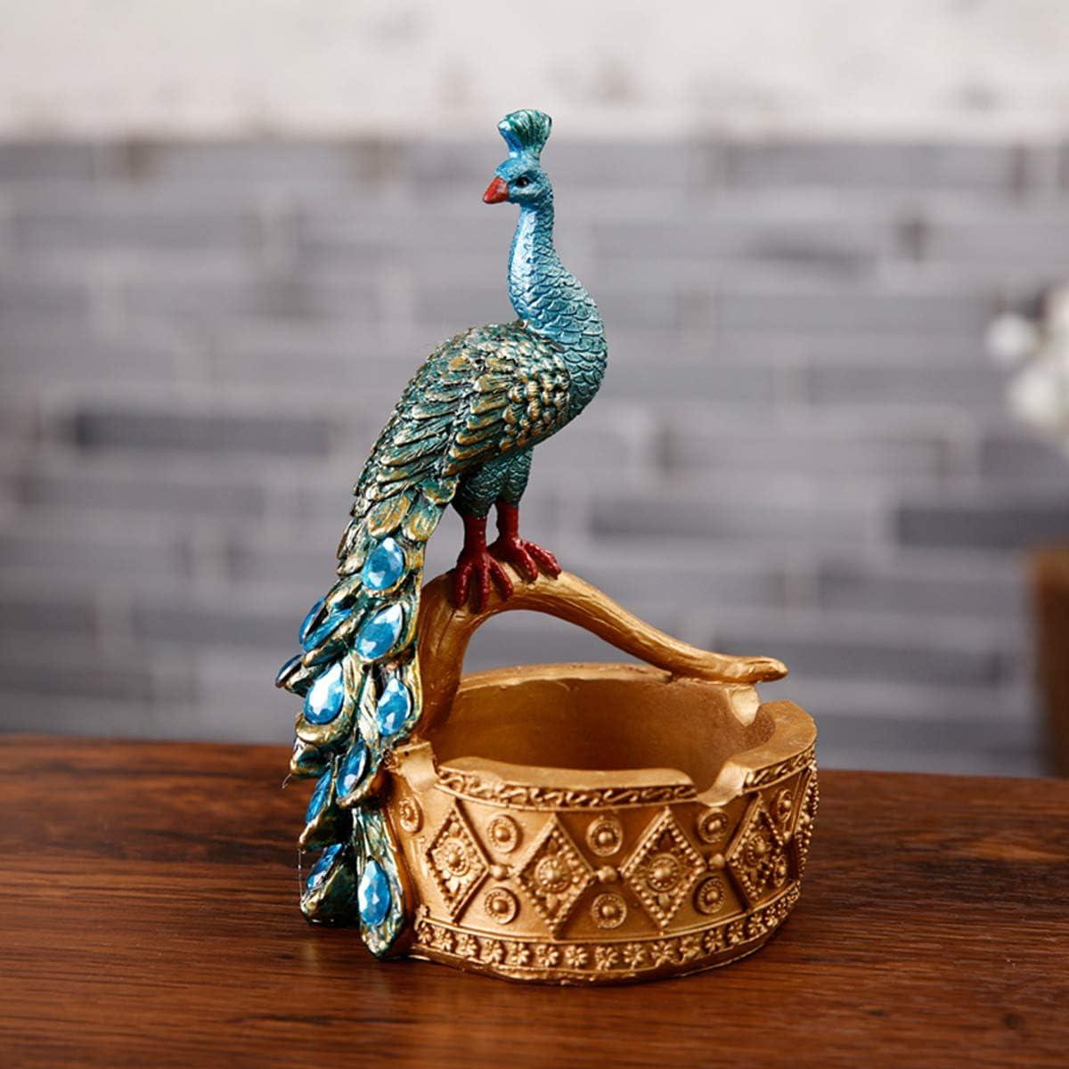LUSU Decorativos Figuras Salon Candelabros De Jardin Exterior Miniatura Personalidad Vintage Cenicero Creativo Pavo Real Resina Artesanía: Amazon.es: Hogar