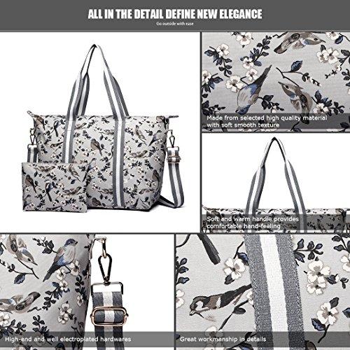 Bag Weight Lulu Women Foldaway Pieces Large Light Flower Overnight 6641 Matte Miss 16J Shoulder Grey Handbag Bird Set Oilcloth 2 P6wInwqC4