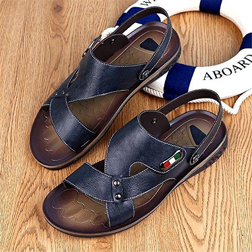 Blu 46 da posteriori Sandali spiaggia Sandali regolabili da uomo in Color BINODA antiscivolo Dimensione Pantofole vera Criss Cross pelle Nero EU wUaS0q0A
