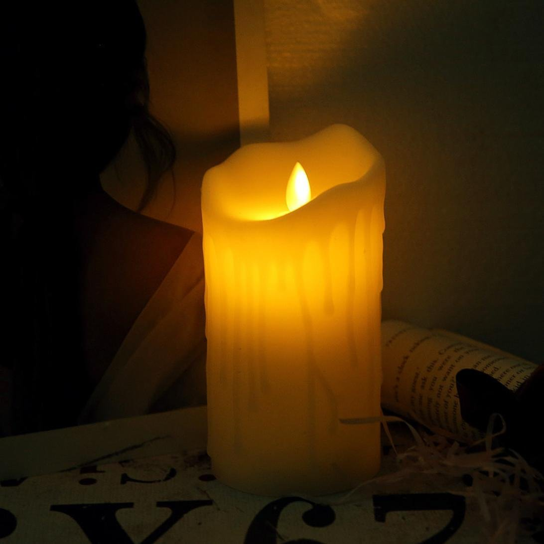 HP95 Romantic Led Tea Light Candles Battery Powered,Flameless Candles Unscented Tealights Simulation Candle Night Light -Without 3 AAA Batteries (L)