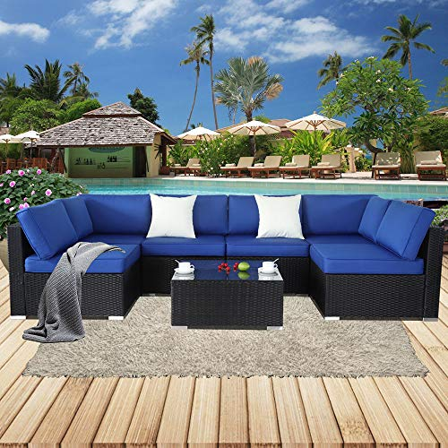 Cover Rattan Cool (Patio Furniture Outdoor Rattan Sofa PE Black Wicker 7pcs Garden Sectional Sofa Set Patio Cushioned Couch Conversation Sets Christmas Party Sofa-Easy Assembled(Royal Blue Cushions,7 Piece))