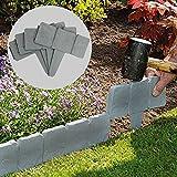 5 Meter Grey Stone Effect Lawn Edging   Plant Bordering   Hammer In Cobblestone Garden Border   Flower Bed & Grass   20 Pieces (5m) M&W
