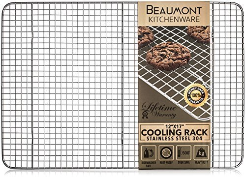 Beaumont Kitchenware Top Rated Baking/Cooling Rack | Heavy Duty ½'' Grids | Top Quality Stainless Steel 304 | Dishwasher and Oven Safe | Large 17''x12'' Perfectly Fits Half Sheet