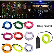 LED Neon Light, Searik 16.4ft/5m Portable EL Wire Glowing Rope Lights LED Strips with Battery Controller for Halloween, Parties, Festival, DIY, Car, Clothes Decoration