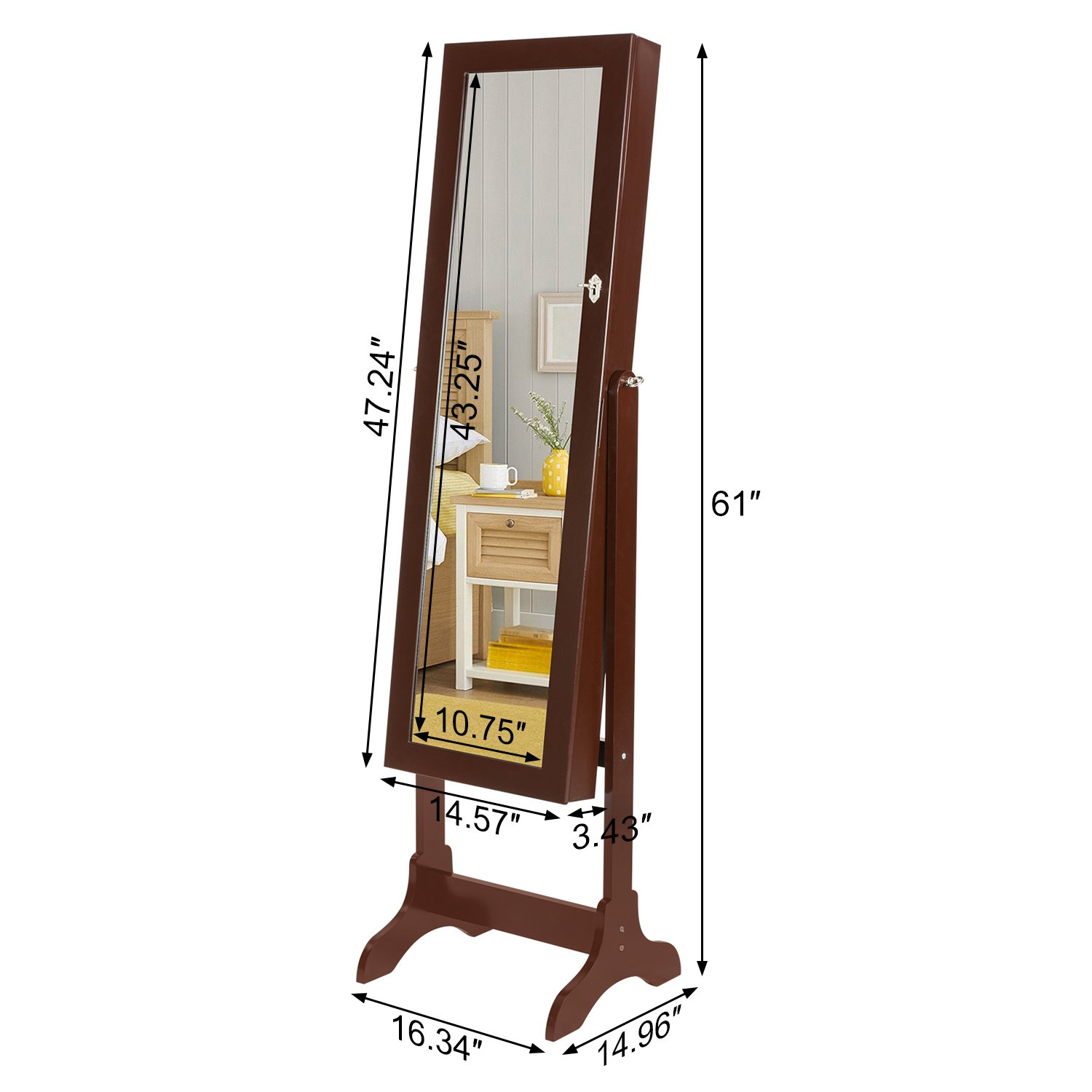 HollyHOME Mirrored Jewelry Cabinet Lockable Standing Jewelry Armoire Holder Organizer with LED Lights, 4 Angle Adjustable, Brown by HollyHOME (Image #7)