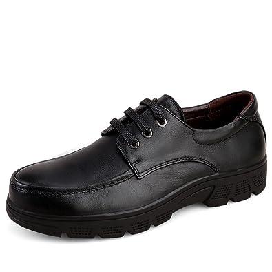 ailishabroy Chaussures en cuir noir pour hommes mode casual mocassins plats  grande taille Oxfords (37 116b3984ba4