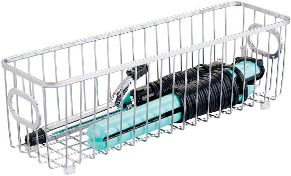 plateado Caja organizadora estrecha con bonito dise/ño en malla de alambre Ideal como organizador de ba/ño para cosm/éticos mDesign Juego de 2 cestas de almacenaje en metal con asas integradas