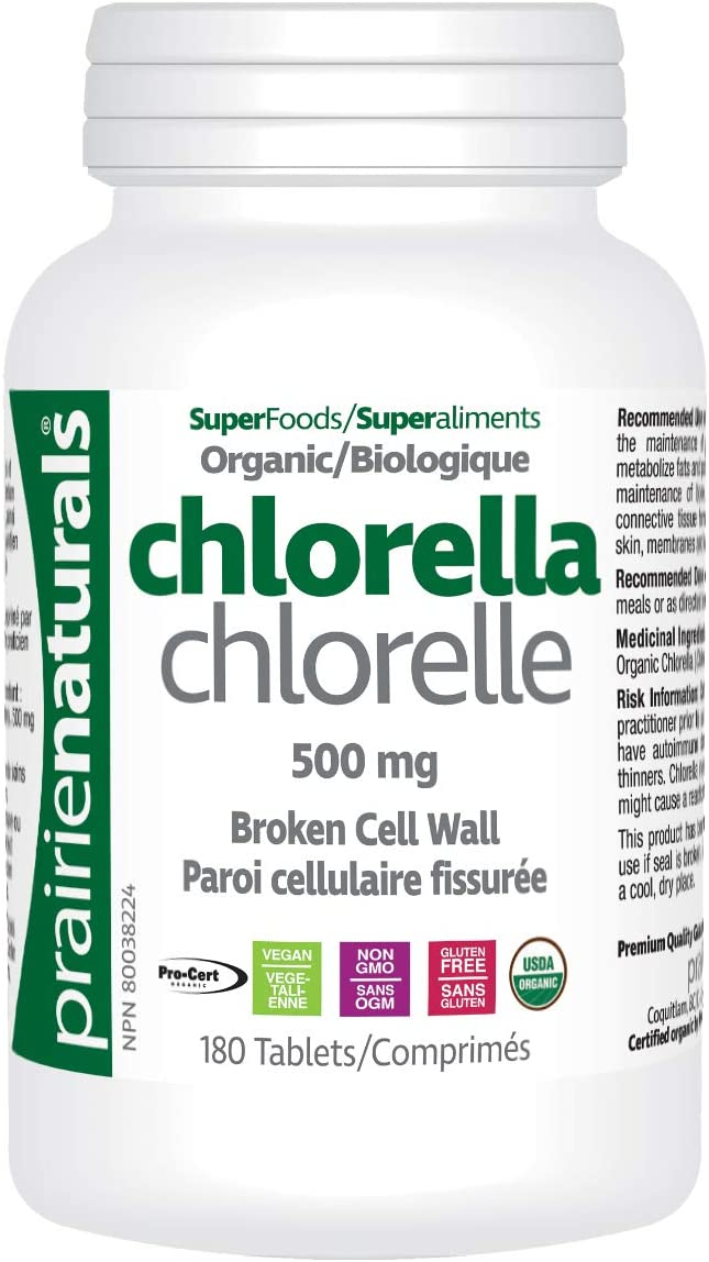 Prairie Naturals Organic Chlorella Broken Cell Wall Tablets, 180 Count
