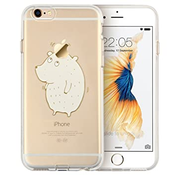 ESR Carcasa para iPhone 6S Plus, iPhone 6 Plus, Transparente, Suave TPU con Bonito patrón para iPhone 6S Plus/6 Plus (Oreja) de 5,5 Pulgadas