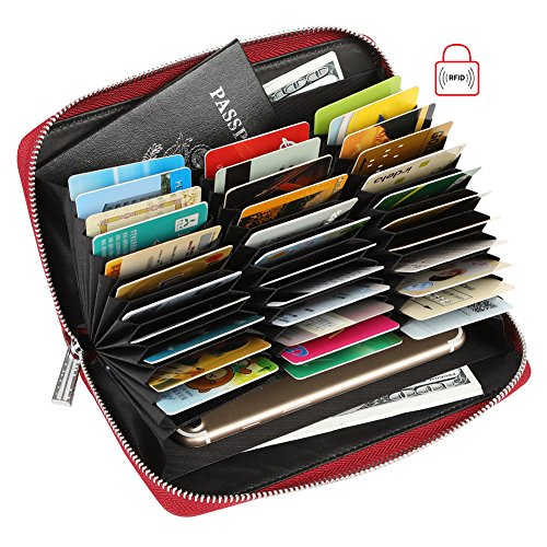 Women 36 Slots RFID Blocking Card Holder Large Long Leather Zipper Checkbook Accordion Wallet,Dark ()