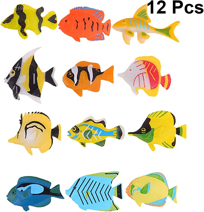 12pcs Plastic Gold Fish Figures Model Kids Party Gift Simulated Ocean Animals NA