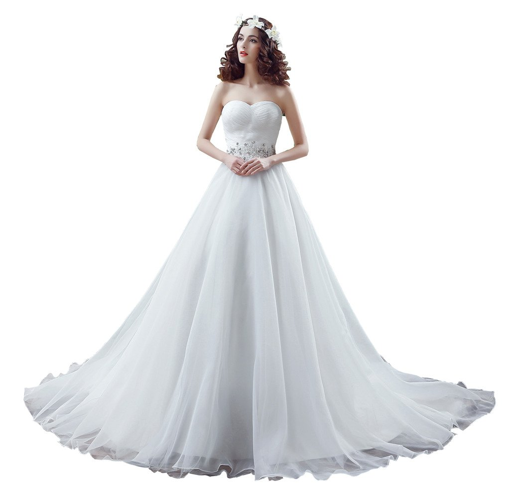 BoShi Women's Court Train Lace Beaded Bridal Gowns Wedding Dresses US 04