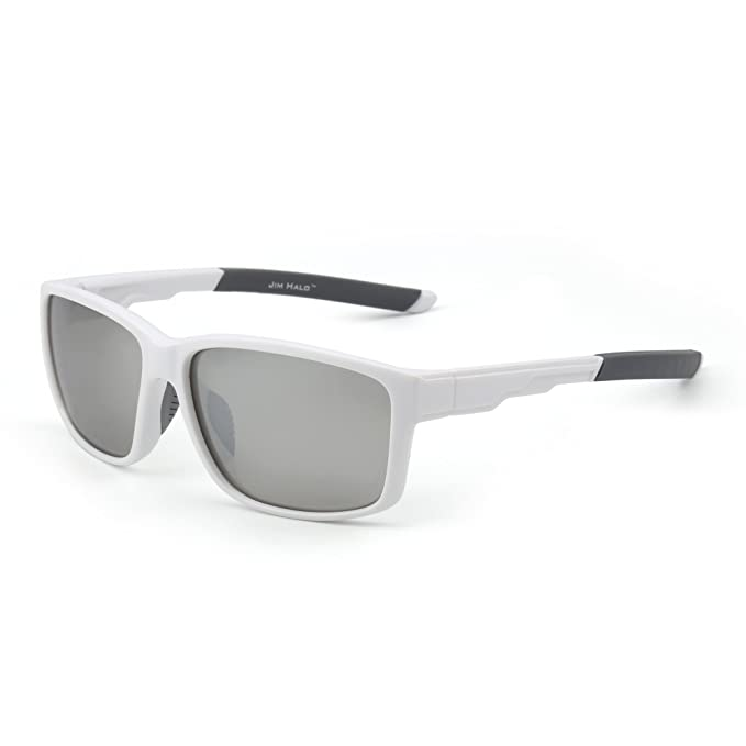 Gafas de Sol Deporte Polarizadas Espejo Wrap Around Conducir Pesca Hombre Mujer(Blanco/Plateado