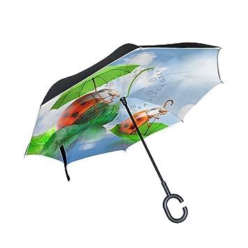 BENNIGIRY Paraguas invertido Ladybug – Paraguas Reversible Plegable en el Interior en la Parte Superior hacia
