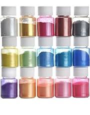 Pigmentos en Polvo,15 Colores Natural Mica Tintes para teñir Resina Epoxi, Jabones, Slime, Cera, Pintura, Vela, Uñas, Cosmético y Arte de Bricolaje - Metalizados Colorante