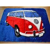 Camper Van Non Slip Machine Washable Sheepskin Style Kids Rug. Size 70cm x 100cm